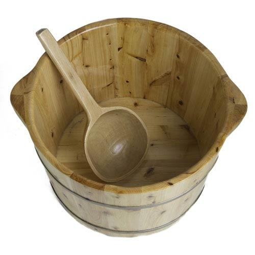 15-inch Solid Cedar Wood Foot Soaking Barrel Bucket with Matching Spoon