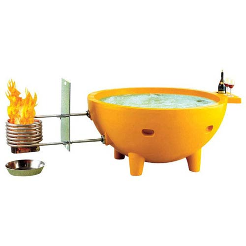 Alfi Brand Yellow Fire Hot Tub The Round Fire Burning Portable Outdoor Hot Bath Tub