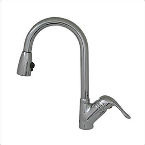 Rainforest Chrome/Black Head 9-Inch Single Hole/Single Lever Handle Faucet w/Black Spray Head