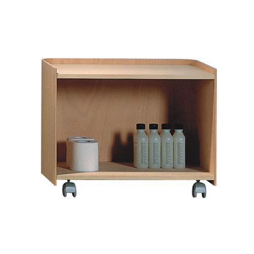 Aeri Natural 21.75-Inch Large Wood Cart w/Two Shelves & Casters