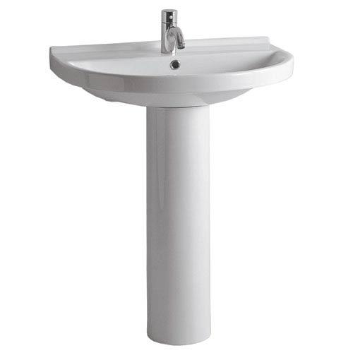 Whitehaus China Series White 23.5-Inch Tubular Pedestal w/U-Shaped Basin & Chrome Overflow