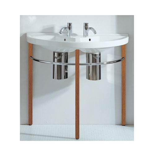 Whitehaus China Series White/Natural Wood Large U-Shaped Double Basin w/Leg Supports, Polished Chrome Towel Rails & Overflow