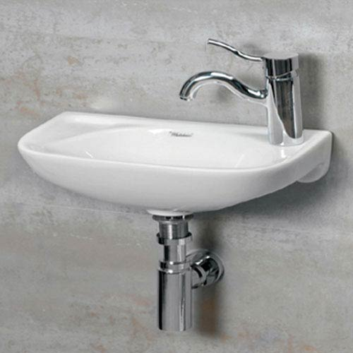 Isabella White 16.25-Inch Small Wall Mount Basin w/Center Drain and and Left-Hand Faucet Drilling