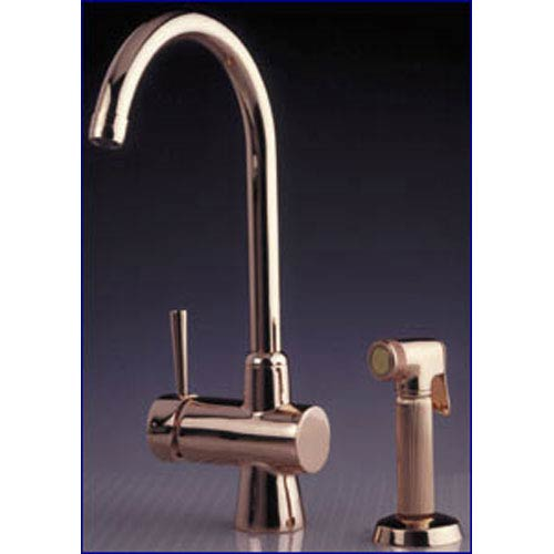 Whitehaus Evolution Polished Chrome 7.25-Inch Arcade Single Lever Mixer w/Gooseneck Swivel Spout & A Fluted Solid Brass