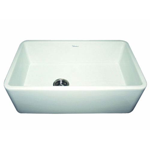 Fireclay Farmhaus White 30-Inch Duet Reversible Fireclay Sink w/Smooth Front Apron
