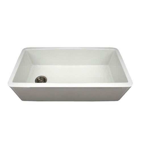 Fireclay Farmhaus White 36-Inch Duet Reversible Fireclay Sink w/Smooth Front Apron