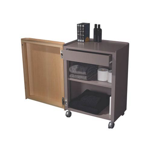 Aeri Natural/Gray 21.75-Inch Freestanding Storage Unit w/Drawer, Two Shelves and Casters
