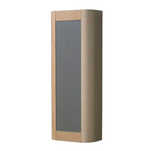 Aeri Natural 15-Inch Vertical Wall Mount Storage Unit w/Mirror Door & Four Shelves