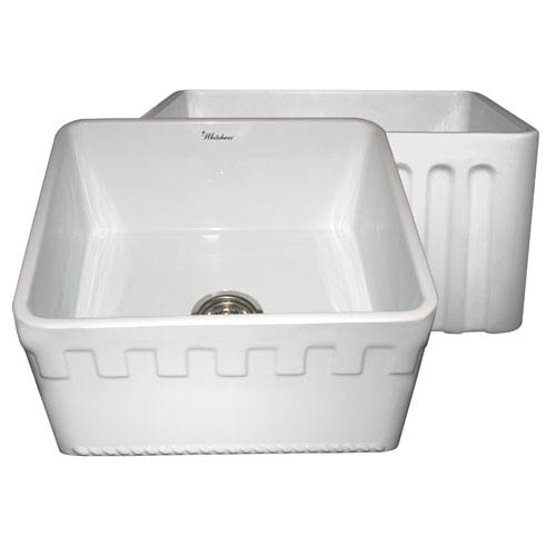 Whitehaus Fireclay Farmhaus White 20-Inch Reversible Series Fireclay Sink w/Athinahaus Front Apron One Side & Fluted Front