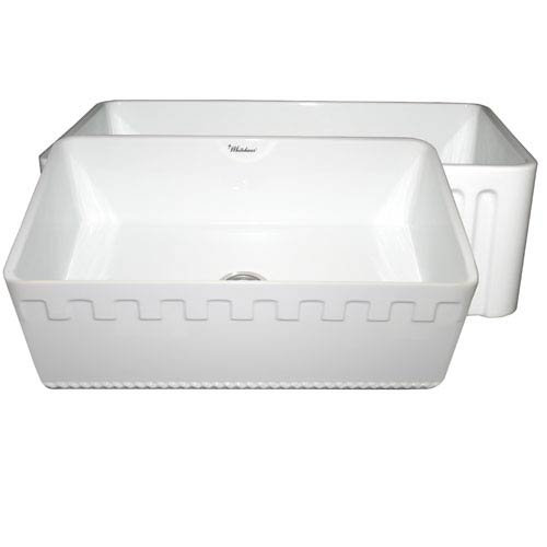 Whitehaus Fireclay Farmhaus White 30-Inch Reversible Series Fireclay Sink w/Athinahaus Front Apron One Side & Fluted Front