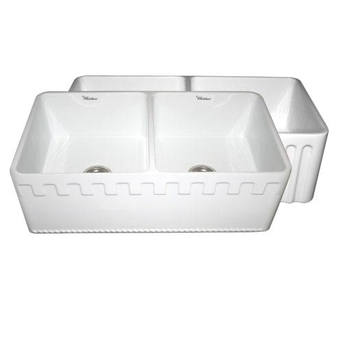 Whitehaus Fireclay Farmhaus White 33-Inch Reversible Series Double Bowl Fireclay Sink w/Athinahaus Front Apron One Side &