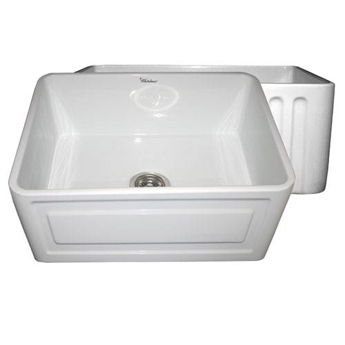 Fireclay Farmhaus White 24-Inch Reversible Series Fireclay Sink w/Concave Front Apron One Side & Fluted Front Apron On Other