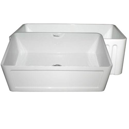 Whitehaus Fireclay Farmhaus White 30 Inch Reversible Series Fireclay Sink  W/Concave Front Apron