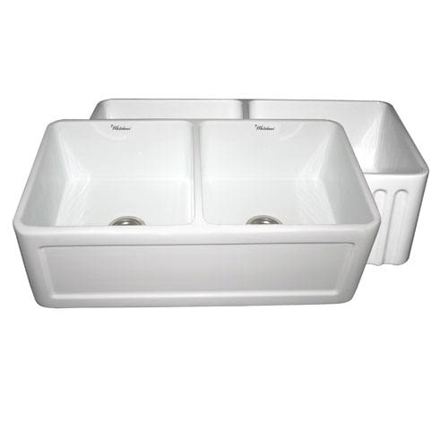 Whitehaus Fireclay Farmhaus White 33-Inch Reversible Series Double Bowl Fireclay Sink w/Concave Front Apron One Side & Fluted