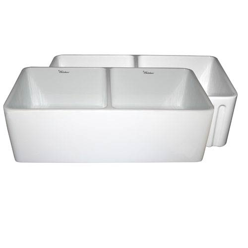 Whitehaus Fireclay Farmhaus White 33-Inch Reversible Series Fireclay Sink w/Smooth Front Apron One Side & Fluted Front Apron