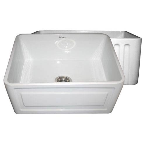 Whitehaus Fireclay Farmhaus White 24-Inch Reversible Series Fireclay Sink w/Raised Panel Front Apron On One Side & Fluted