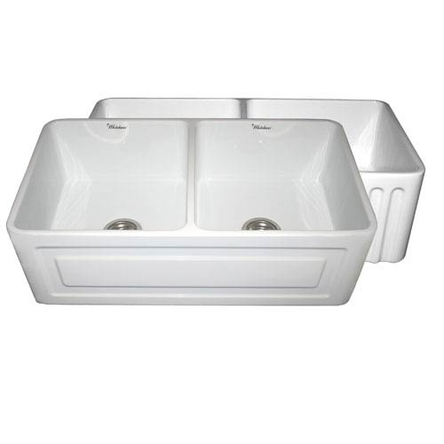 Fireclay Farmhaus White 33-Inch Reversible Series Fireclay Sink w/Raised Panel Front Apron On One Side & Fluted Front Apron