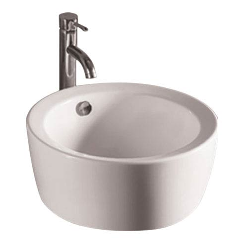 Isabella White 18-Inch Round Above Mount Basin w/Overflow & Center Drain