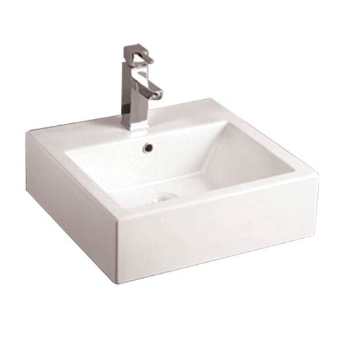 Isabella White Square Wall Mount Basin w/Overflow, Single Faucet Hole & Rear Center Drain