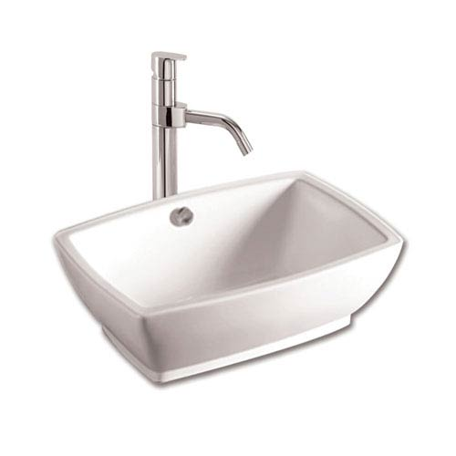 Whitehaus Isabella White 21-Inch Rectangular Above Mount Basin w/Overflow, Drain & Matching Wall Mount Counter Top