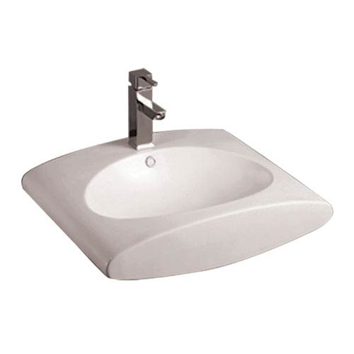 Isabella White Rectangular Wall Mount Basin w/Integrated Oval Bowl, Overflow, Single Faucet Hole & Rear Center Drain