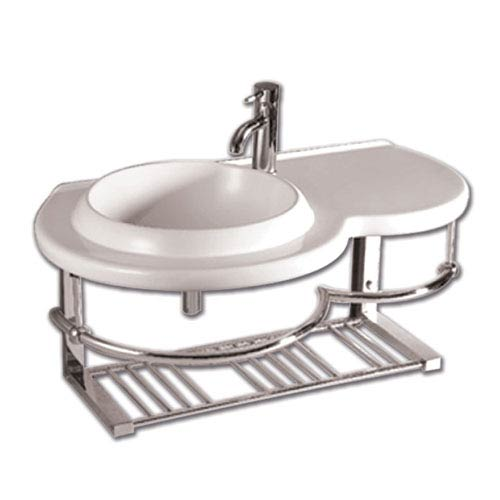 Isabella White Large Wall Mount Basin w/Integrated Round Bowl, Single Faucet Hole & Center Drain