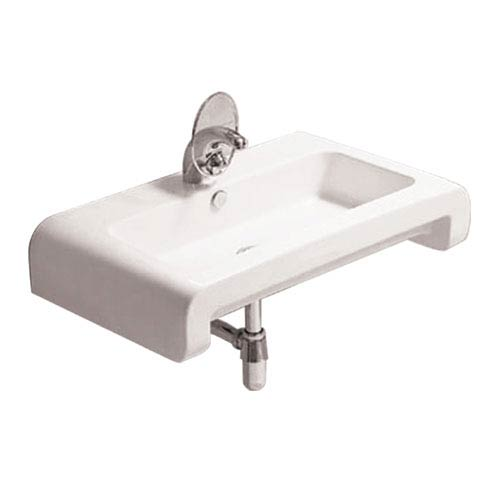 Isabella White Rectangular Wall Mount Basin w/Overflow, Single Faucet Hole & Rear Center Drain