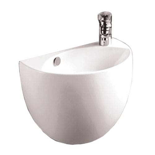 Whitehaus Isabella White Half-Oval Shaped Wall Mount Basin w/Overflow, Right Offset Single Faucet Hole & Center Drain