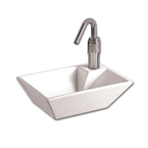 Whitehaus Isabella White Rectangular Wall Mount Basin & Right Offset Single Faucet Hole