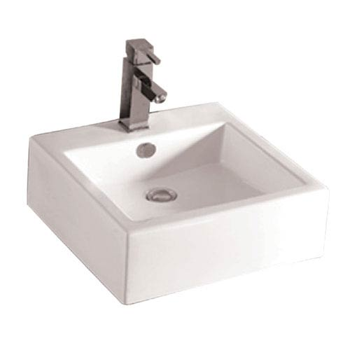 Isabella White 18.5-Inch Square Wall Mount Basin w/Overflow, Single Faucet Hole & Rear Center Drain