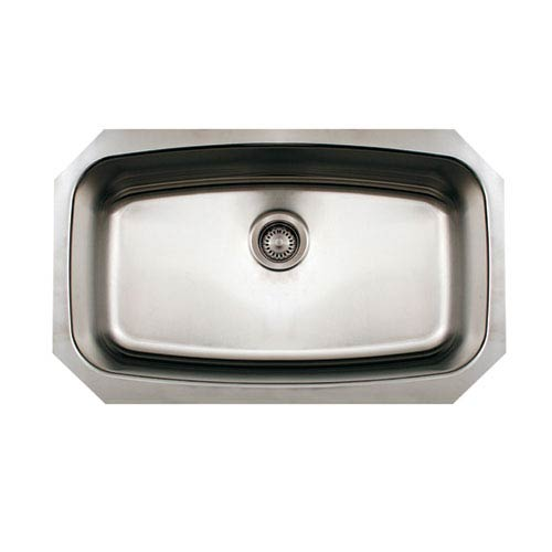 Whitehaus Noahs Brushed Stainless Steel 29.5-Inch Single Bowl Undermount Sink