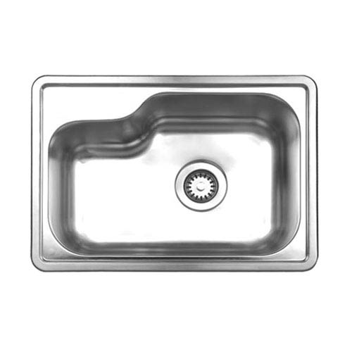 Whitehaus Noahs Brushed Stainless Steel 21.875-Inch Single Bowl Drop-In Sink