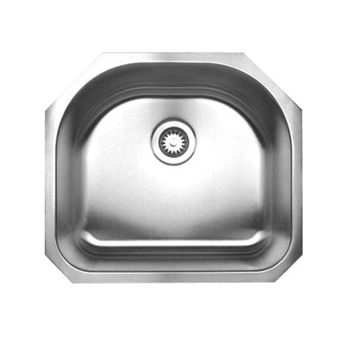 Noahs Brushed Stainless Steel 23.25-Inch Single Bowl (D-Bowl) Undermount Sink