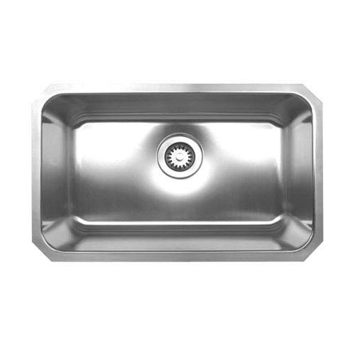 Whitehaus Noahs Brushed Stainless Steel 30.25-Inch Rectangular Single Bowl Undermount Sink