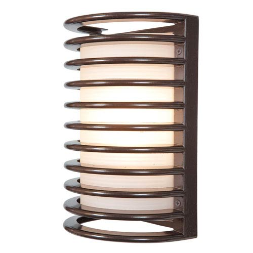 Access Lighting Bermuda Bronze LED 11-Inch Outdoor Wall Sconce with Ribbed Frosted Glass Shade