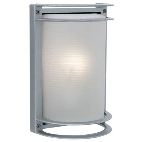 Nevis Satin LED Outdoor Wall Sconce with Ribbed Frosted Glass Shade