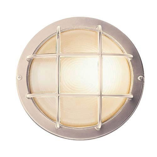 Nautical Satin Silver Large Round Sconce