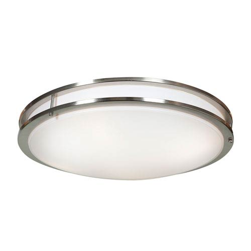 Solero Brushed Steel Six-Light 24-Inch Flush Mount with Acrylic Lens