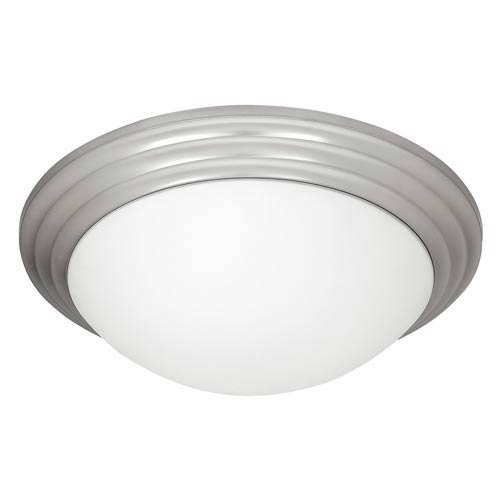 Access Lighting Strata Brushed Steel Two-Light Flush Mount with Opal Glass