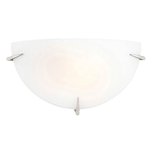 Brushed Steel One-Light Half Moon Wall Sconce with Opal Glass