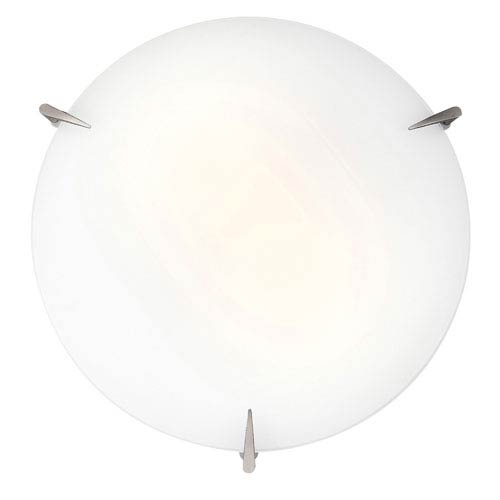 Zenon Brushed Steel Two-Light Flush Mount with Opal Glass