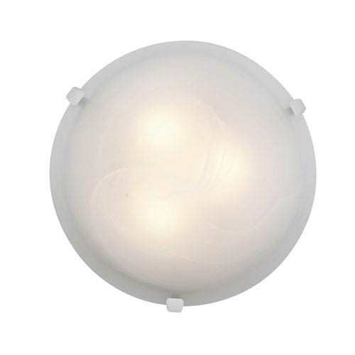 Access Lighting Mona White Two-Light 12-Inch Flush Mount with Alabaster Glass