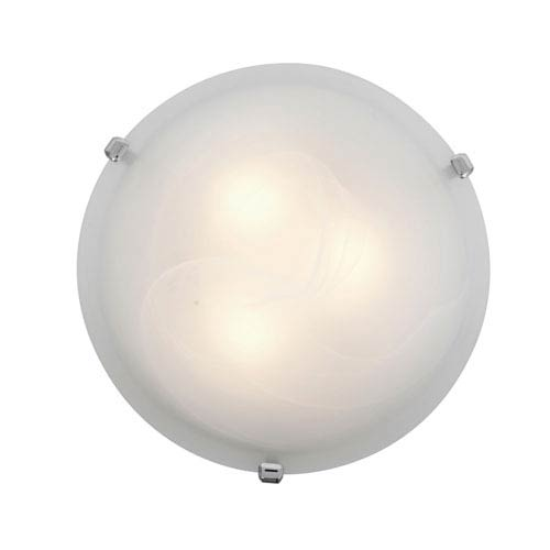 Access Lighting Mona Chrome Fluorescent Two-Light 12-Inch Flush Mount with Alabaster Glass
