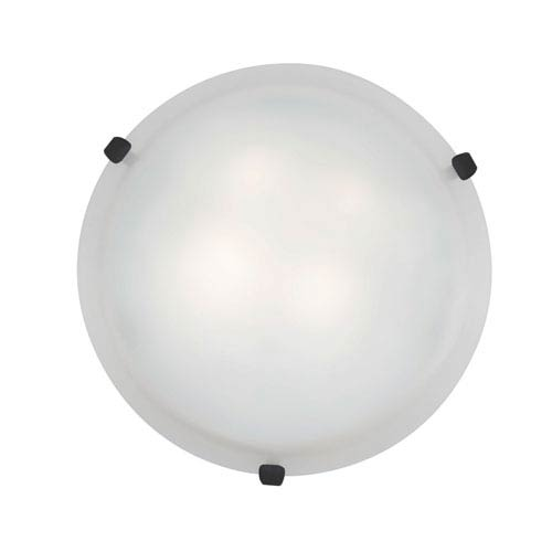 Mona Rust Three-Light 16-Inch Flush Mount with White Glass