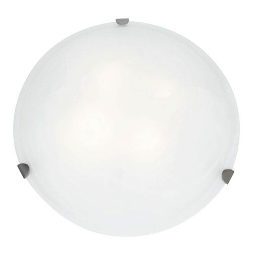 Access Lighting Mona Brushed Steel Fluorescent Three-Light 20-Inch Flush Mount with White Glass