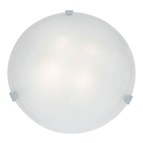 Access Lighting Mona Chrome Fluorescent Three-Light 20-Inch Flush Mount with White Glass