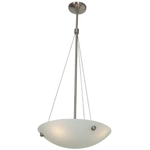 Noya Brushed Steel Four-Light 18-Inch Pendant with White Glass