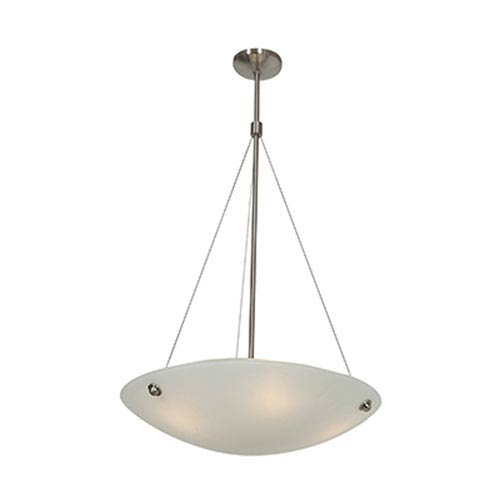 Access Lighting Noya Brushed Steel Four-Light 24-Inch Pendant with White Glass