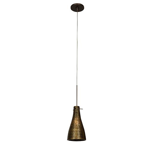 Access Lighting Cavo Bronze One-Light Mini-Pendant with Flat Canopy and Gold Glass