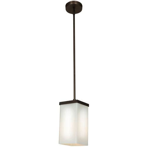 Basik Oil Rubbed Bronze One-Light 4-Inch Mini Pendant with Opal Glass Shade